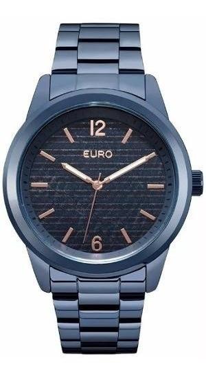 Relogio Euro Feminino Eu2033aq/4a Azul Lançamento
