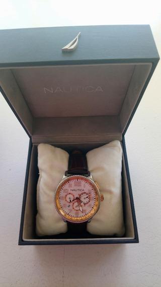Reloj Náutica Correa Piel Café Oro Rosa Casual 38mm Fechador