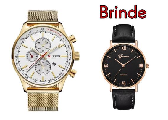 Relógio Masculino Curren Modelo 8227-gold White + Brinde