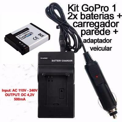 Carregador De Baterias + Uma Bateria Original Gopro