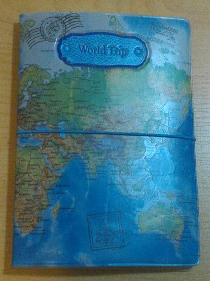 Capa Para Passaporte Azul Mapa Mundi Charmoso World Trip