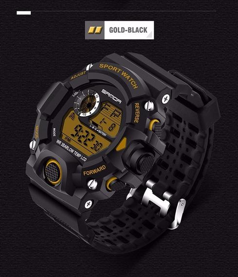 Reloj Digital Sport Militar Marca Sanda Modelo 326 Dorado
