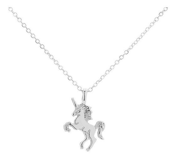 Collar Unicornio Dije Cadena Pegaso Plateado Caballo