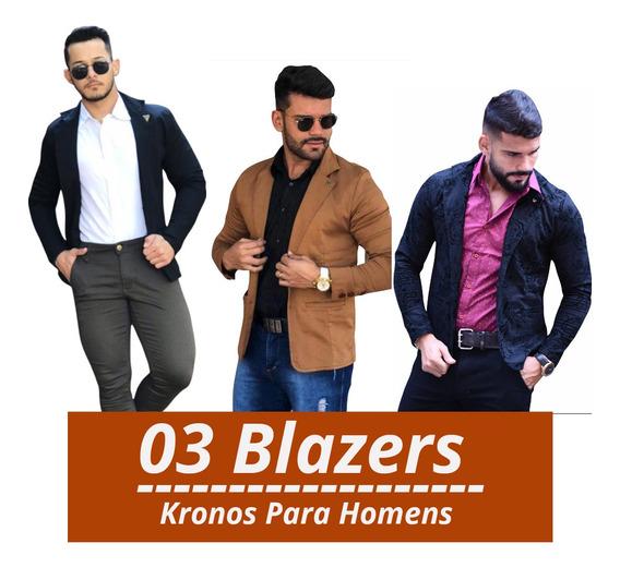 Kit Com 03 Blazers Masculino Slim - Pronta Entrega