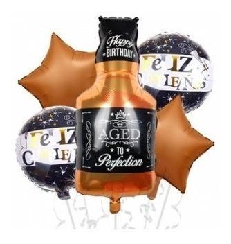 Imagen 1 de 6 de Kit De Globos Metalizados Botella Decorativo