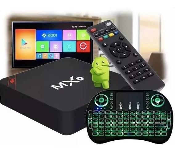 Conversor Tv Box 4k Wi-fi + Teclado Led + Cabo Av Rca/p2