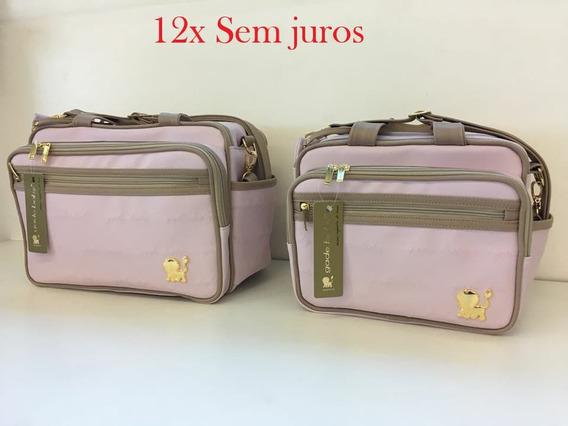 Jogo De Bolsa E Frasqueira Luxo Premium Rosa Beb C/ Trocador