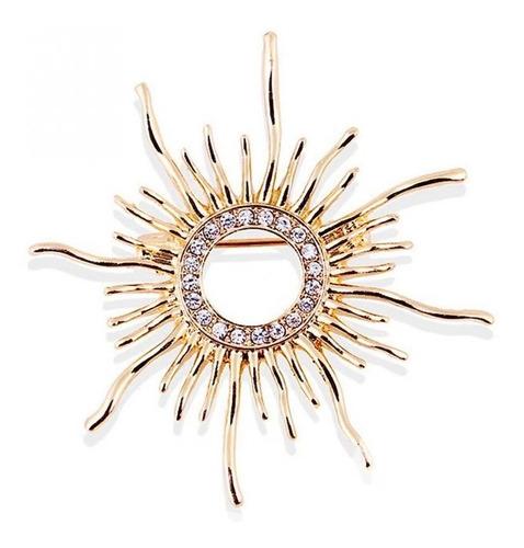 Imagen 1 de 6 de Prendedor Sol Gold Filled 14k Zirconias Cz