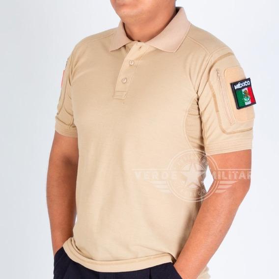 Playera Tactica Polo Militar Camisa Combate Deportiva Uniforme Porta Parche Insignia Logo Kaki Con Bolsa Sport Slim Fit