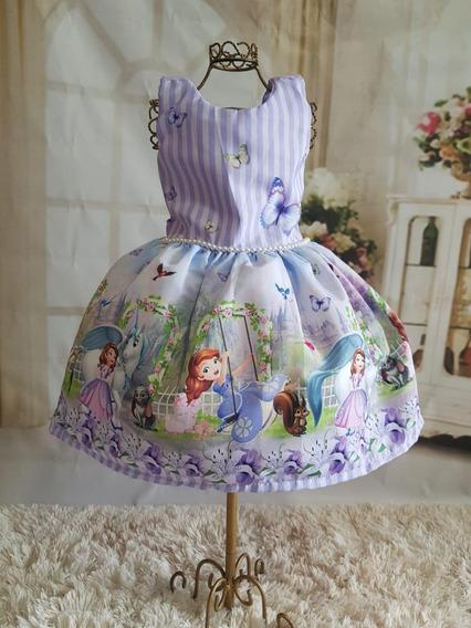 Vestido Princesa Sofia Temático Super Luxo Festa Aniversario