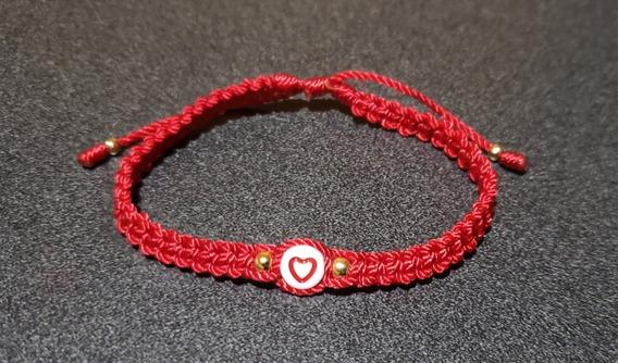Pulsera Unisex Hilo Rojo Corazón Tejido Ajustable