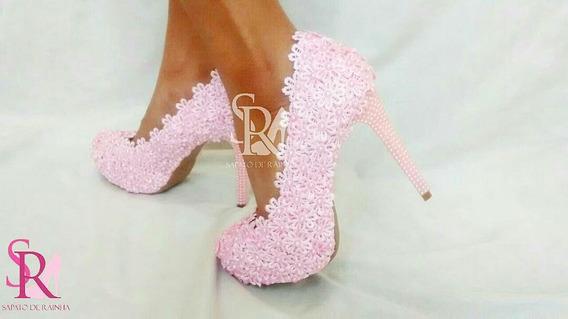 Sapato De Noiva / Casamento Rosa (customizado)