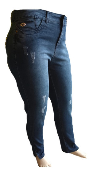 Calça Feminina Jeans Cintura Alta Elastano Plus Size