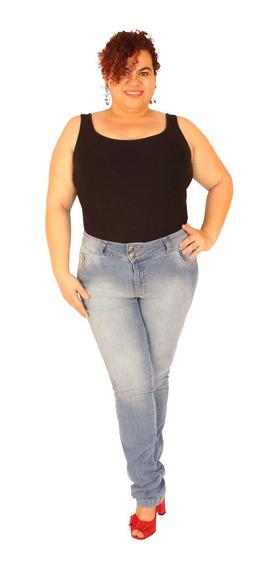 Calça Skinny Plus Size Do 46 Ao 58 Jeans Claro - Jules