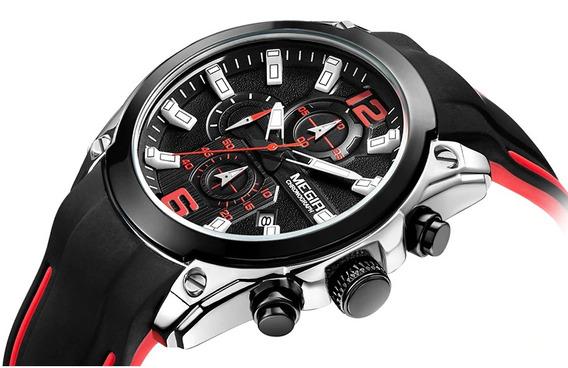 Relógio Megir Preto/vermelho E Prata Chronograph Analógico