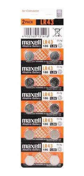 1 Cartela C/10 Bateria Alcalina Original Maxell Lr43 1.5v