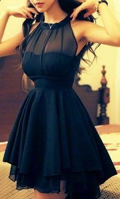 Vestido Corto Moda Asiática Con Transparencia
