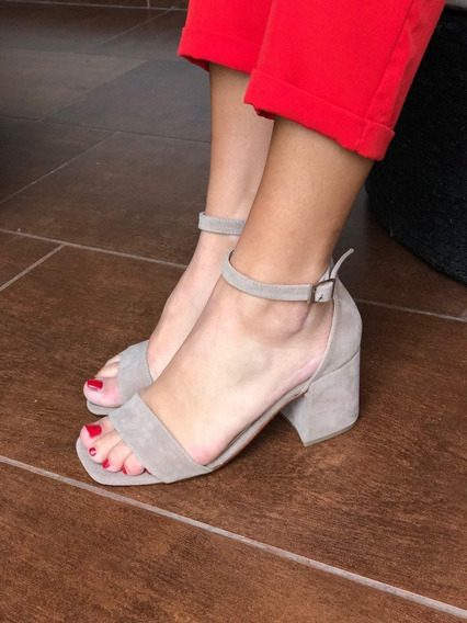 Sandalias Zapatos Gamuza Fiesta Taco Bajo
