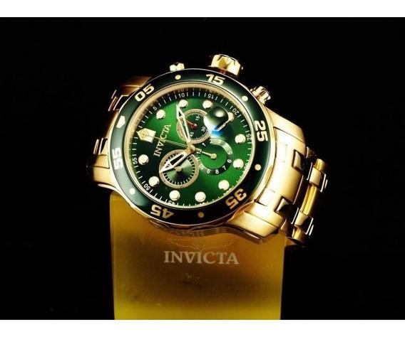Relógio Pro Diver 0075 Aço Inox Ouro 18k Verde - Invicta