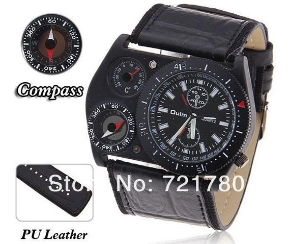 Relógio Militar Sport Oulm Pulseira Couro Termômetro Bússola
