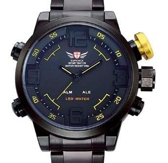 Relógio Masculino Militar Epozz Quartz Digital Led Dual Detalhe Amarelo Frete Grátis