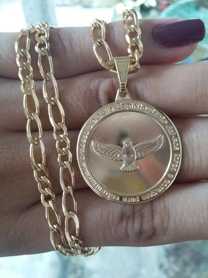 Corrente E Medalha Divino Espirito Santo Em Semijóia