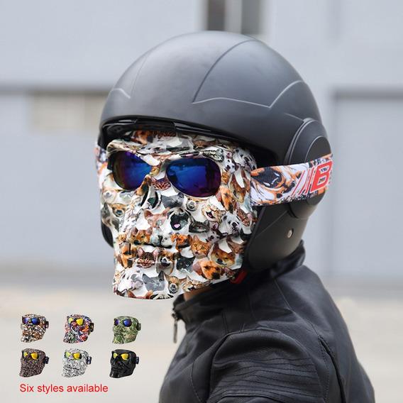 TaiRi Gafas de Montar para Casco de Motocicleta Gafas con m/áscara Facial extra/íble Gafas de protecci/ón antiniebla Desmontables Filtro de Boca Correa Antideslizante Ajustable