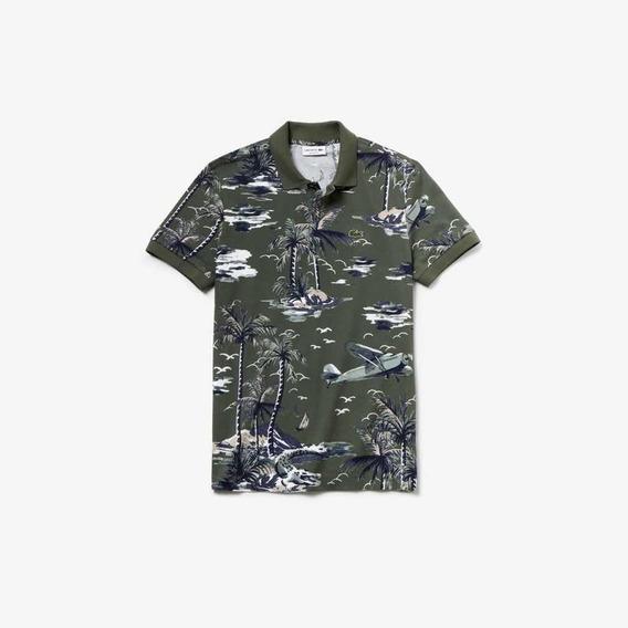 Polo Lacoste Con Estampado Hawaiiano Regular Fit Para Hombre