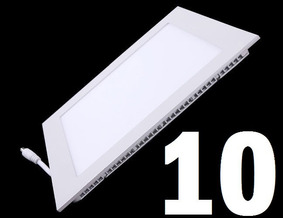 10 Lampada Led Plafon Slim 6w Quadrado Luz Fria Embutir Spot