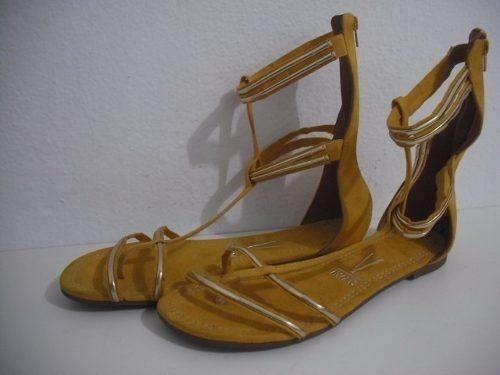 Sandalia Rasteira Vizzano Amarelo Tm 39 Tipo Gladiadora