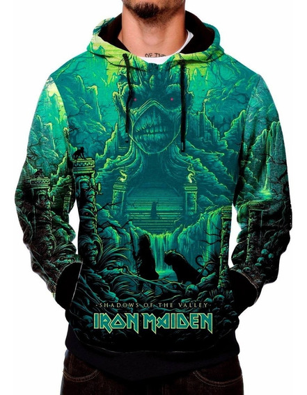 Moletom Capuz Iron Maiden Heavy Metal Dark Rock Evil Bolso