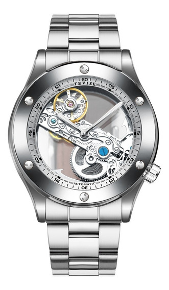 Reloj Para Hombre Automático Tevise Skeleton Silver T824