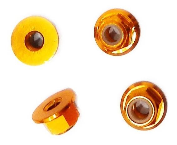 Porca 4mm Flange Roda Automodelo Alumínio Gold 4 Porcas