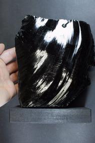 1.560g Obsidiana Negra Vidro Vulcânico Natural + Base Goldmb