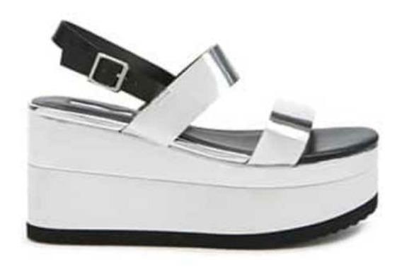 Sandalias De Plataforma MetalicasColor Plateado Y Blanco