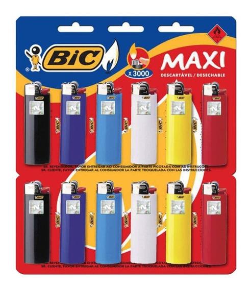 Isqueiro Bic Maxi Grande Cartela 12 Unidades Original