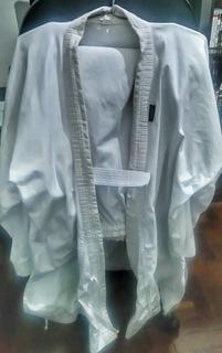 Kimono Karate Branco Pa Shiroi Tamanho 4+calça+faixa Branca