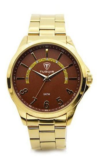 Relógio Feminino Analógico Dourado Tuguir Lançamento 5021