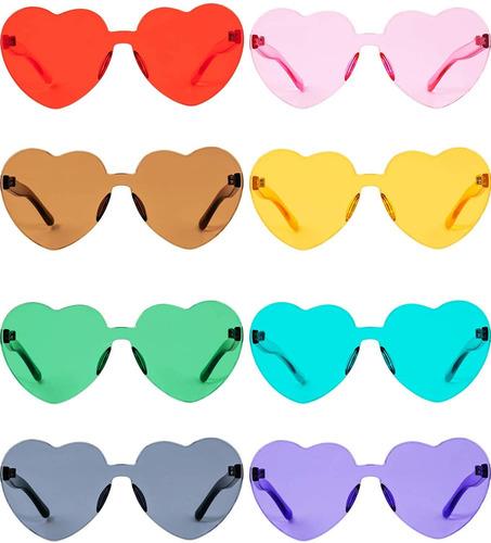 Gejoy - Gafas De Sol Transparentes Con Forma De Corazón, Sin