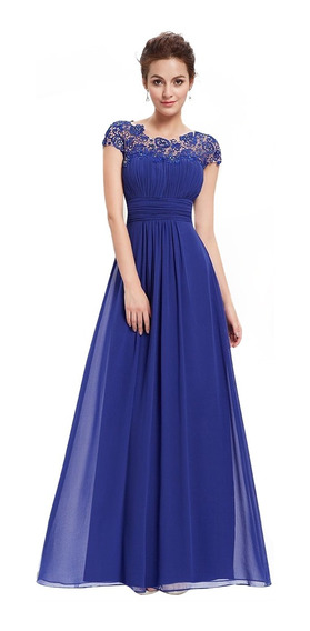 Vestido De Noche Largo Color Azul Marino Vestidos En
