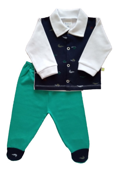 Conjunto Bebê Menino Maternidade Calça E Casaquinho Algodão