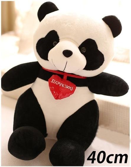 Urso Panda Pandinha Pelúcia Ursinho 40cm Coração Romântico