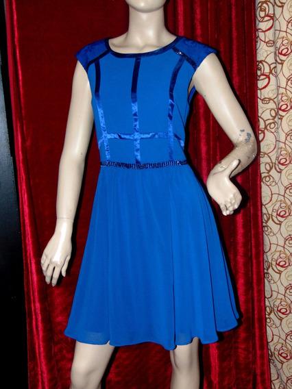 Vestido Fiesta Azul Corto Seda Importado