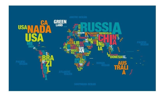 Poster Mapamundi En Palabras - Words World Map - Gigantograf