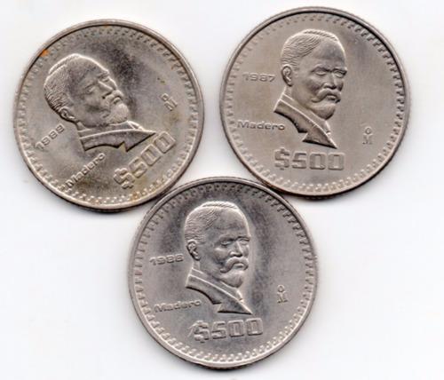 Imagen 1 de 2 de Colección Moneda Quientos   Pesos Madero  1986, 87 88    A1