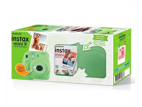 Kit Câmera Instax Mini 9 Verde Lima +filme + Estojo Couro