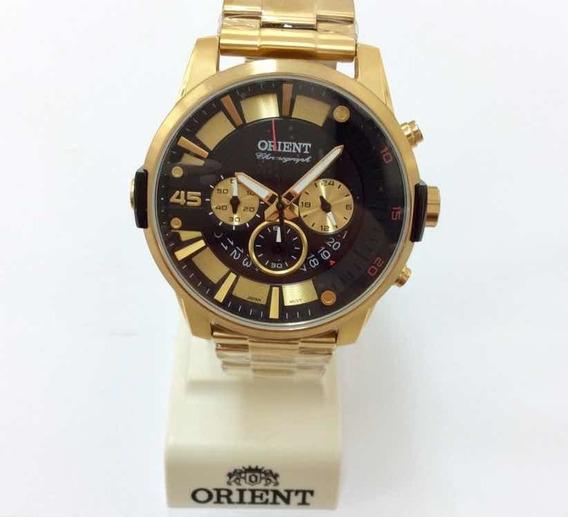Relógio Orient Cronógrafo Com Banho De Ouro Mg88c026