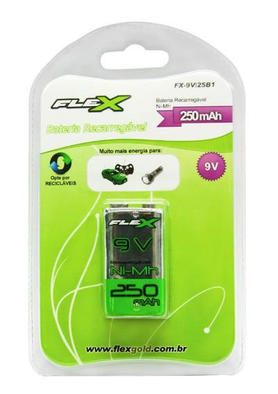Bateria Recarregável 9v 250mah 6f22 Nimh Flex Original C/nf