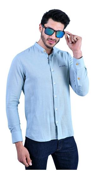 Camisa Porto Blanco Caballero Cuello Mao Verde Aqua E-801