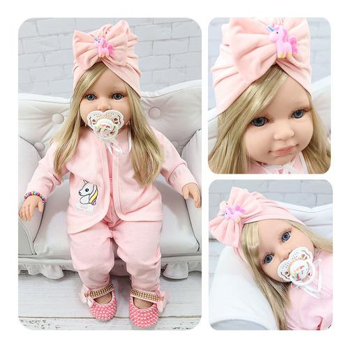 Boneca Tipo Bebê Reborn Realista Com Vários Itens